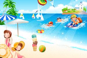 《双胞胎在海滩》游戏画面1