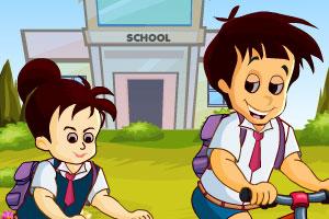 《比赛骑车去学校》游戏画面1